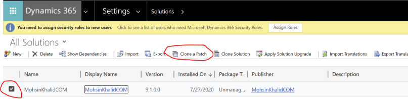 Clone a solution patch